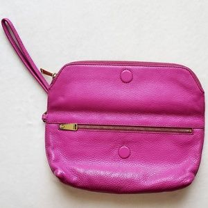 Fossil Fuscia Leather Magnetic Foldover Clutch